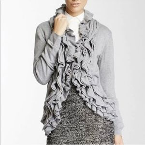 Romeo & Juliet Couture Ruffled Front Gray Cardigan